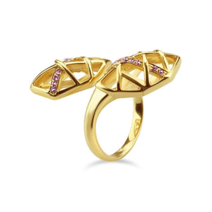 Gold Plated Amethyst Helical Ring