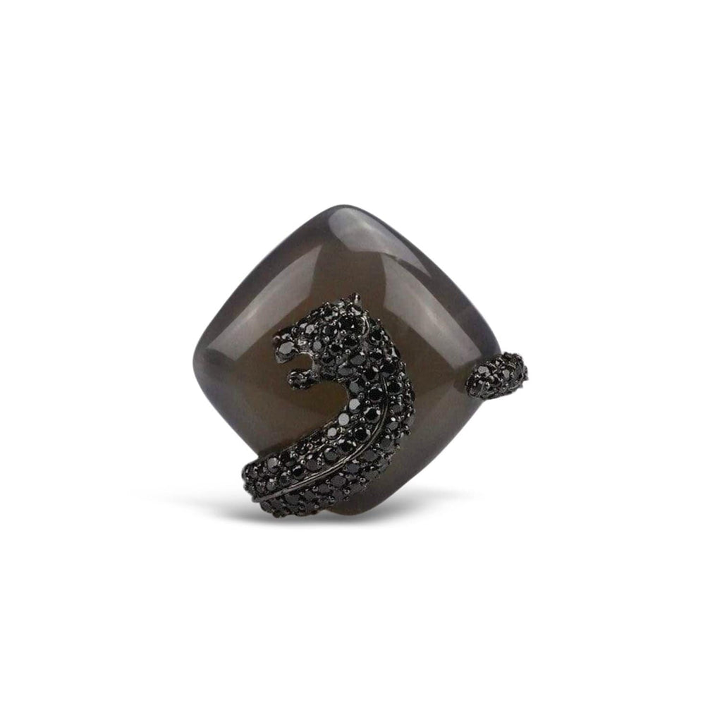 Agate Umbra Panther Cocktail Ring