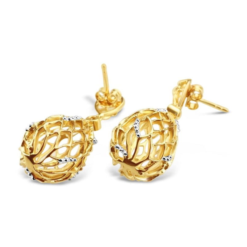 Gold Plated Hive Earrings
