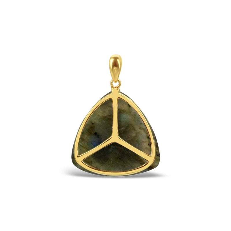 Gold Plated Labradorite Triangle Pendant