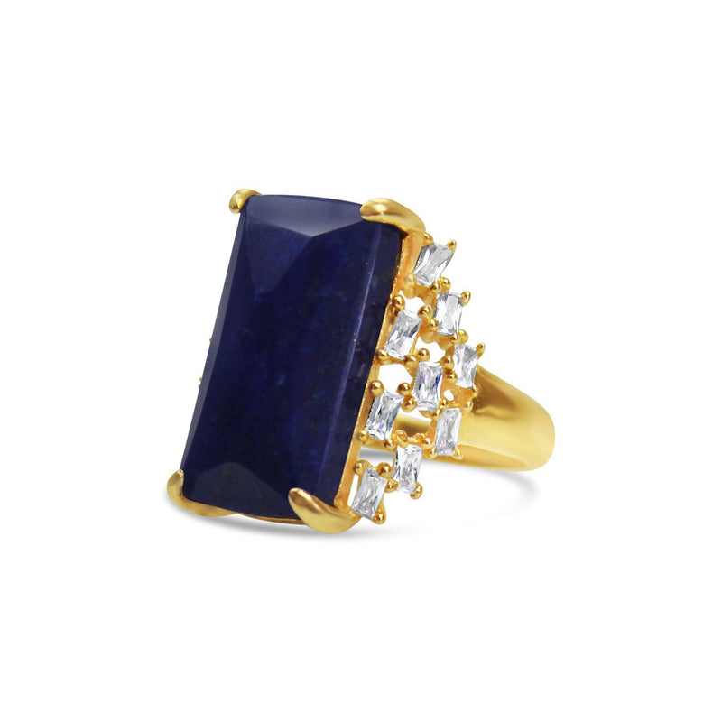 Gold-plated Silver Lapis Lazuli Cocktail Ring