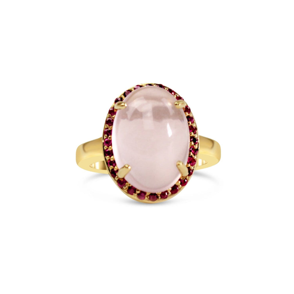 Gold Plated Quartz and Ruby Oval Ring