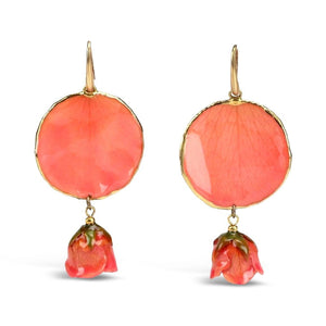 Gold Plated Natural Rose Earrings