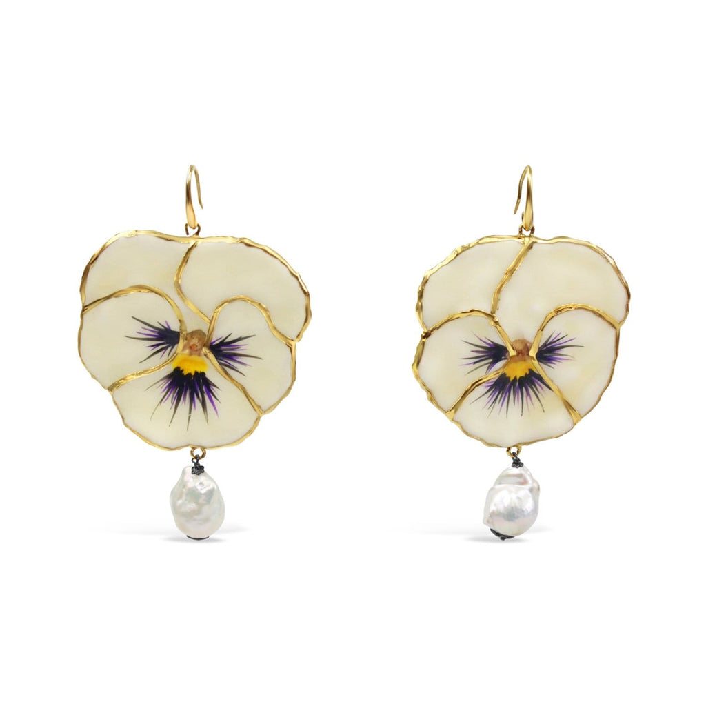 Gold Plated Natural Pansy Earrings
