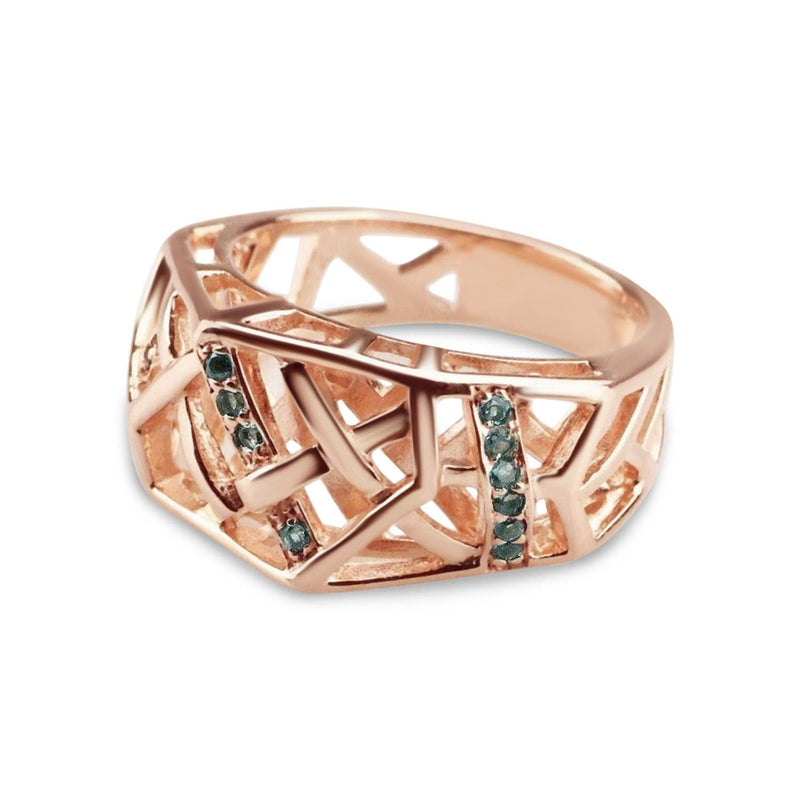Rose Gold Plated Crossover Topaz Ring