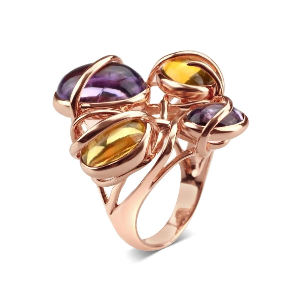 Gold Plated Citrine and Amethyst Cocktail Ring