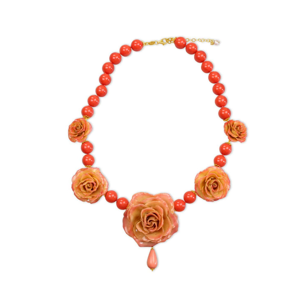 Natural Rose Coral Necklace
