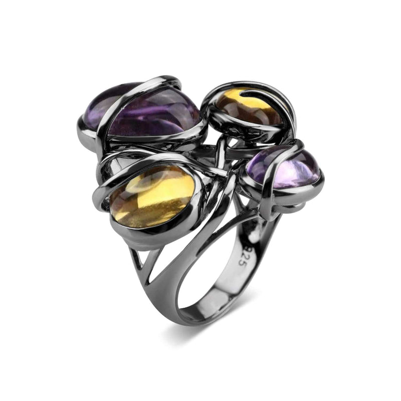 Rhodium Plated Citrine and Amethyst Cocktail Ring