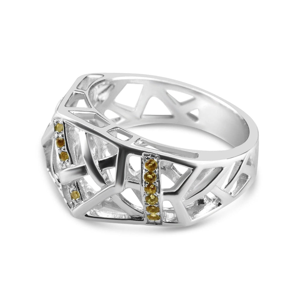 White Gold Plated Crossover Citrine Ring