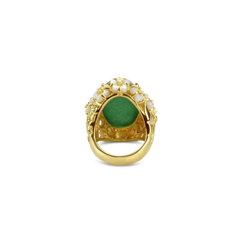 Gold Plated Green Aventurine Cocktail Ring