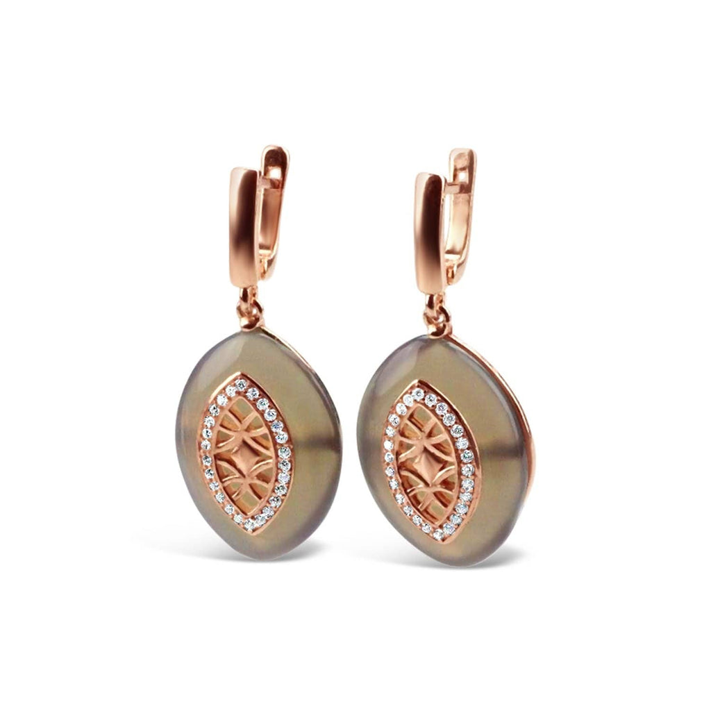 Gold Plated Grey Agate Earrings