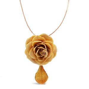 Natural Beige Rose Necklace
