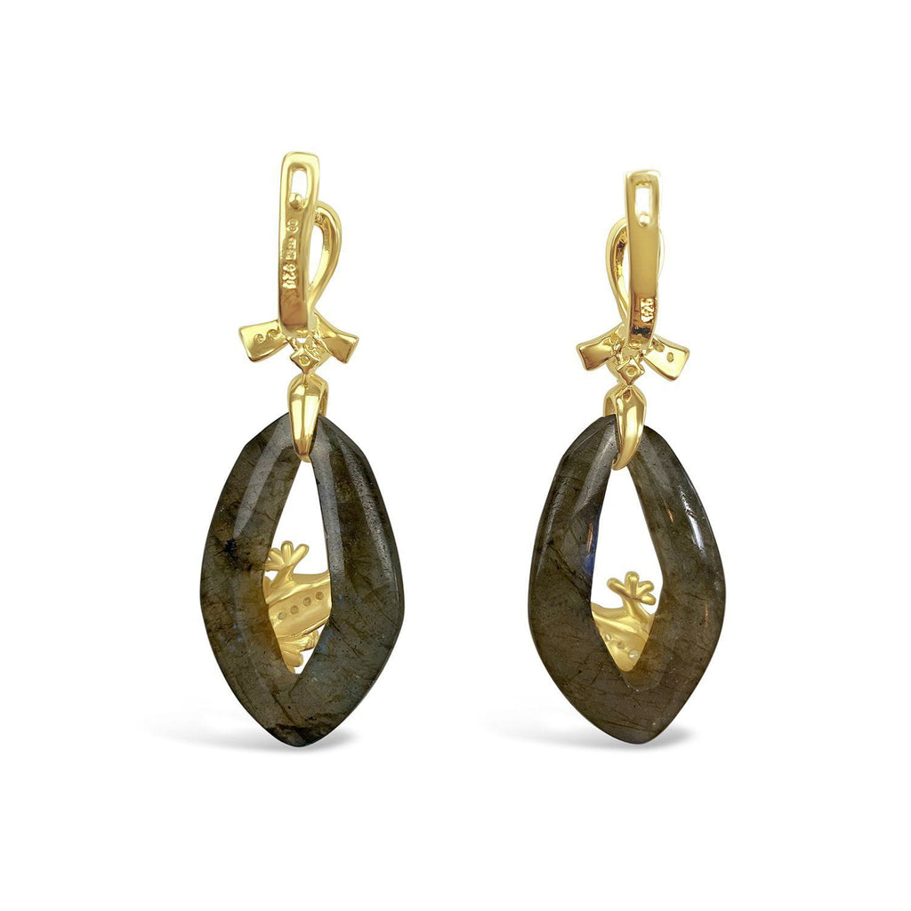 Gold Plated Labradorite Frog Earrings