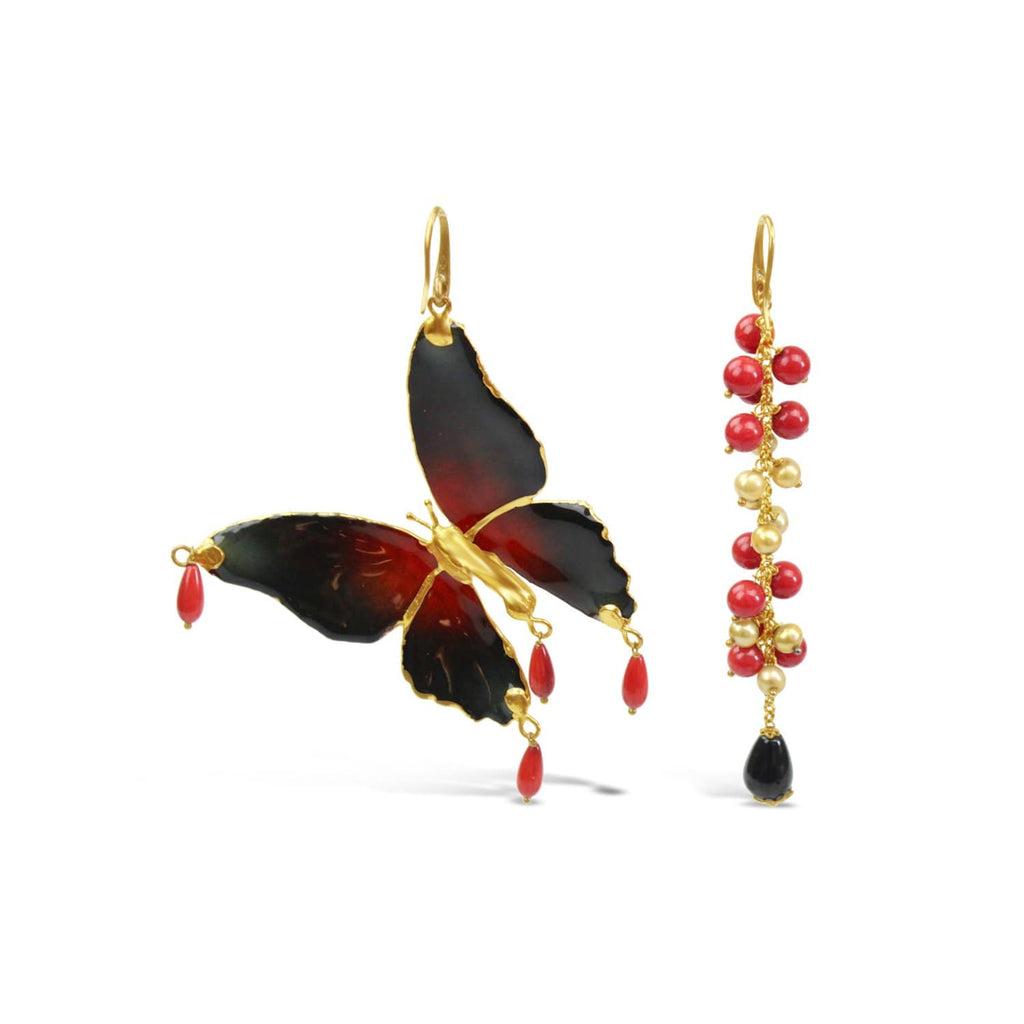 Coral and Onyx Butterfly Earrings