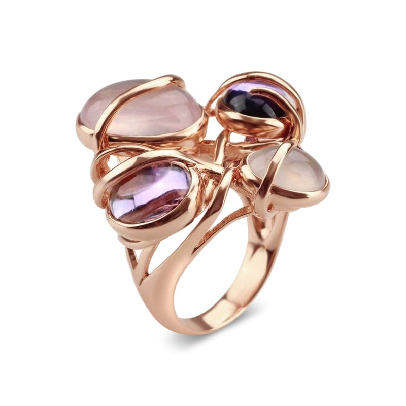 Gold Plated Multiple Stone Cocktail Ring