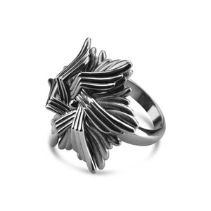 Rhodium Plated Sea Flower Ring