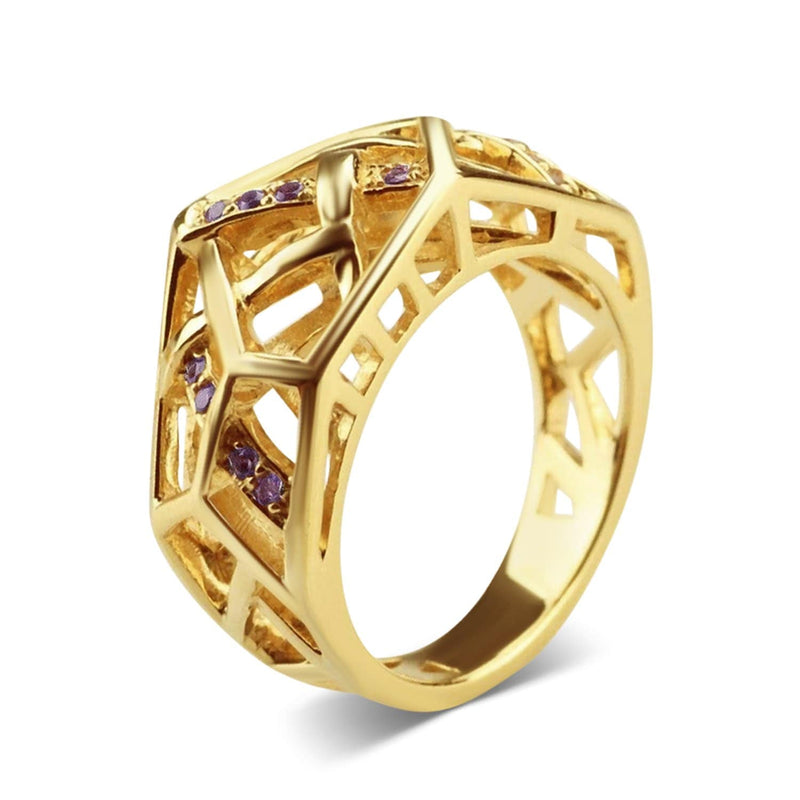 Gold Plated Crossover Amethyst Ring