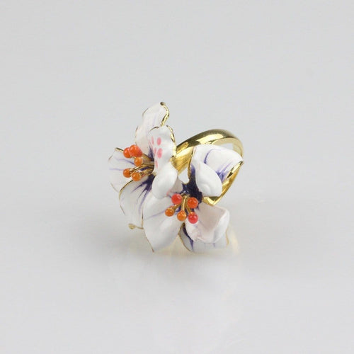 Enamelled White Orchid Ring
