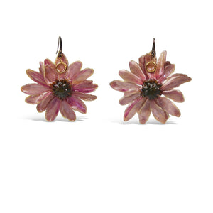 Natural Purple Daisy Earrings