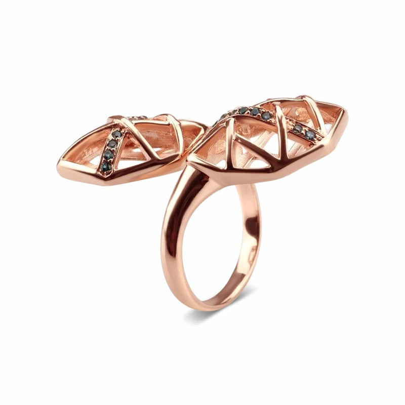 Rose Gold Plated Topaz Helical Ring