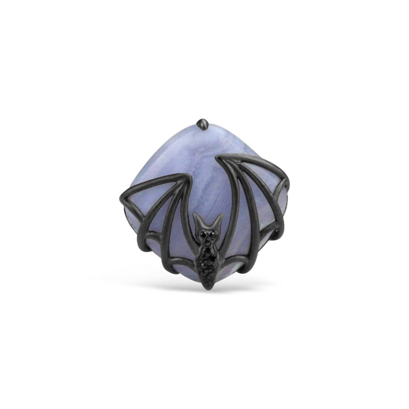 Sterling Silver Blue Agate Bat Ring
