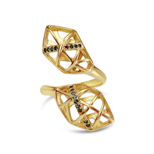 Gold Plated Blue Topaz Helical Ring