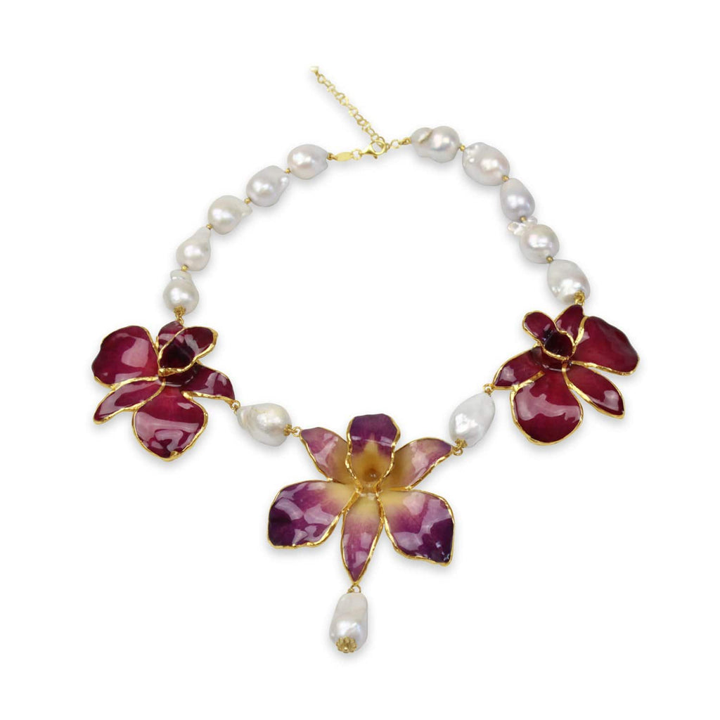 Natural Orchid and River Pearl Necklace