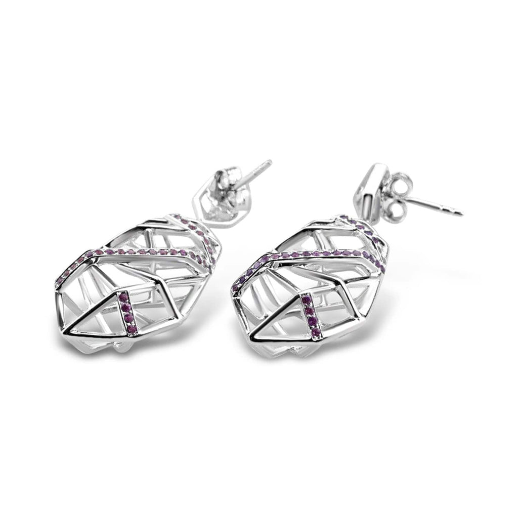 White Gold Plated Crossover Amethyst Earrings