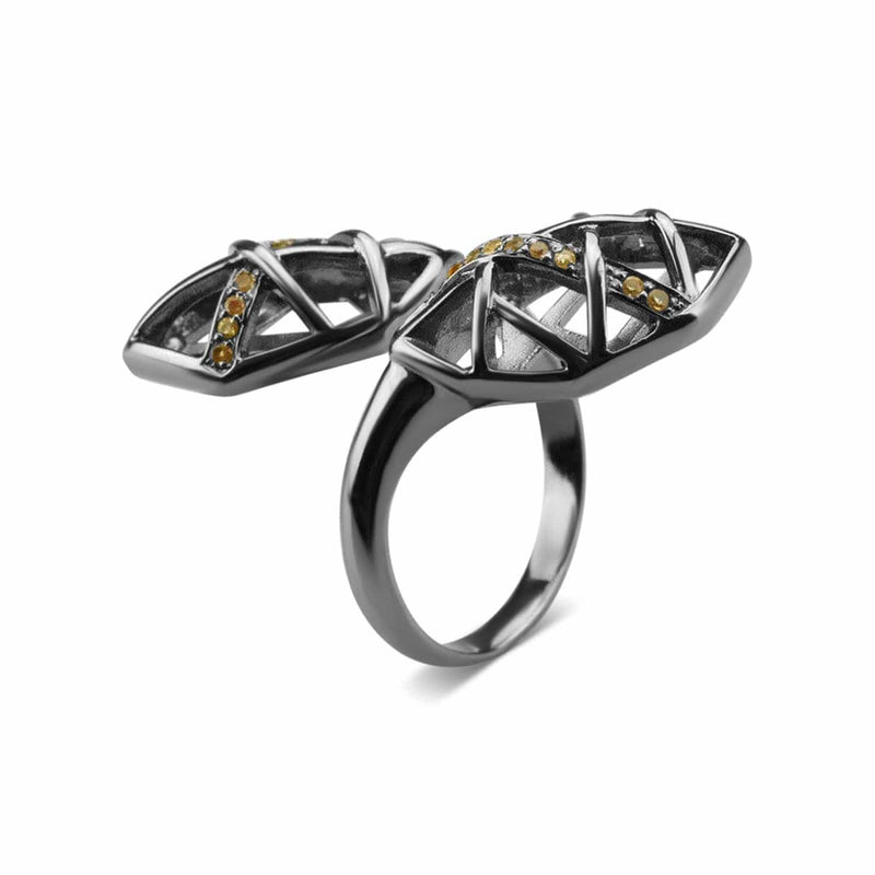 Rhodium Plated Citrine Helical Ring