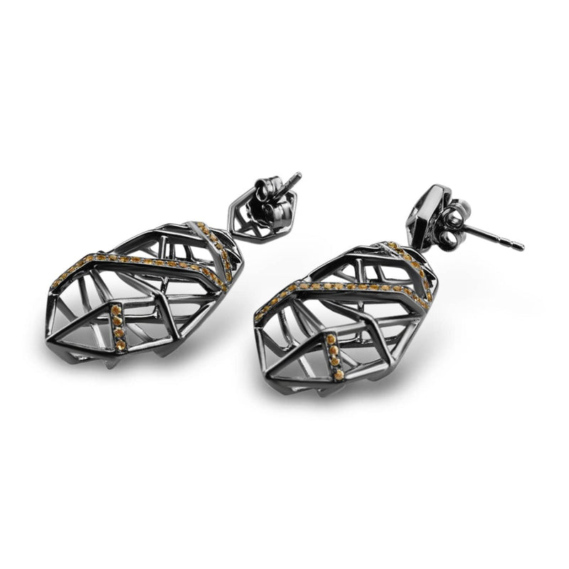 Rhodium Plated Citrine Crossover Earrings