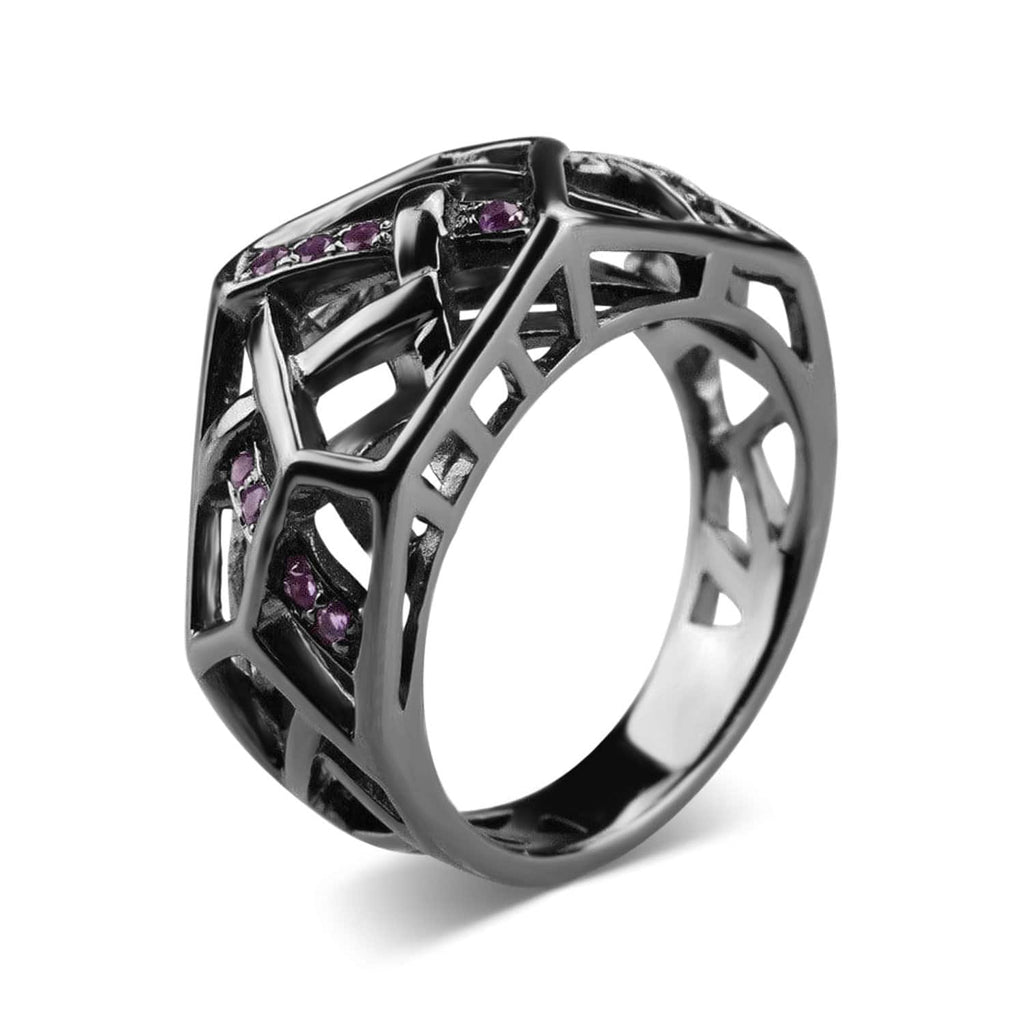 Rhodium Plated Crossover Amethyst Ring