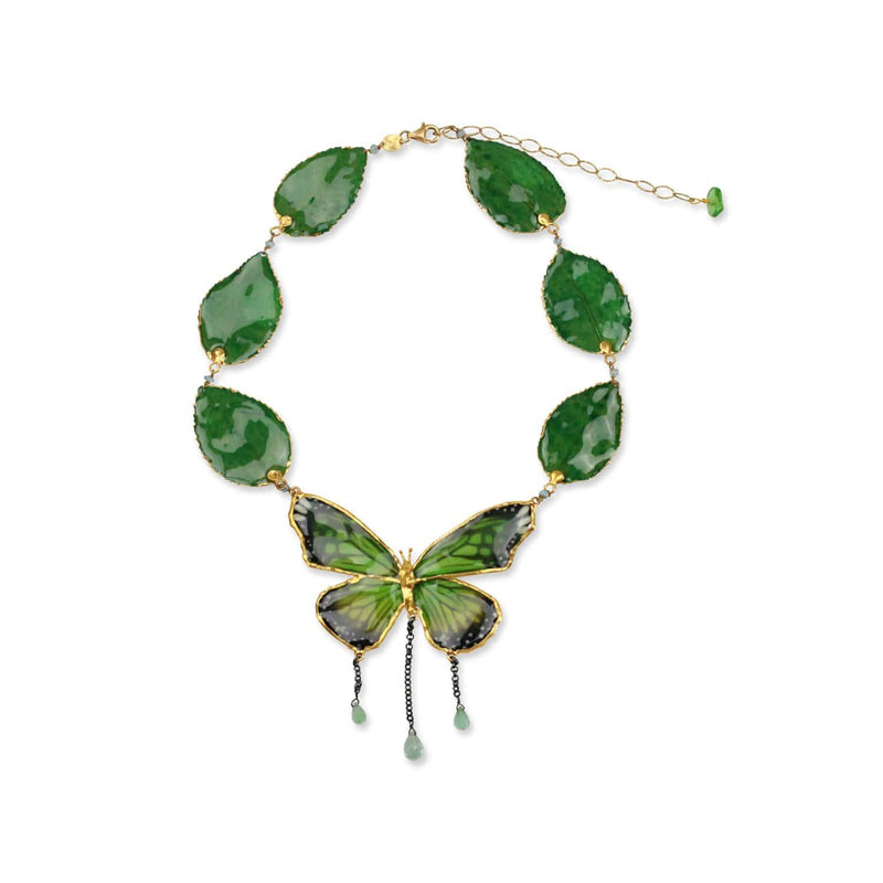 Green Butterfly and Rose Leaves Necklace