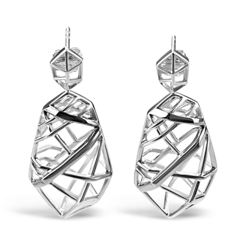 White Gold Plated Crossover Earrings