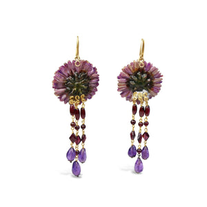 Natural Purple Dahlia Earrings