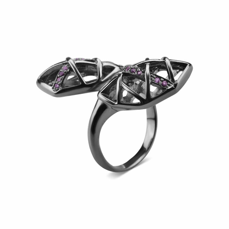 Rhodium Plated Amethyst Helical Ring