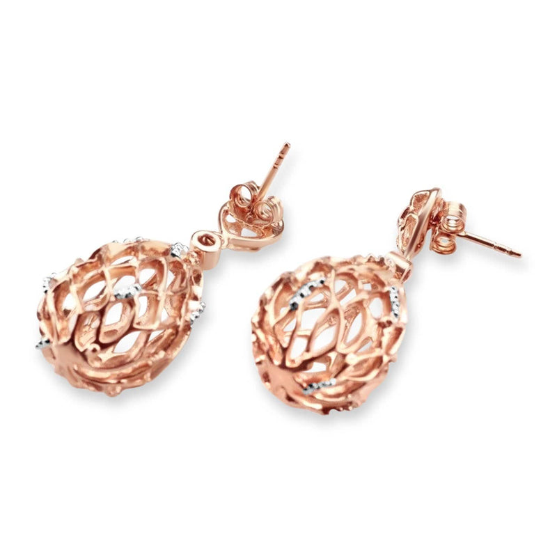 Rose and White Gold Plated Hive Earrings