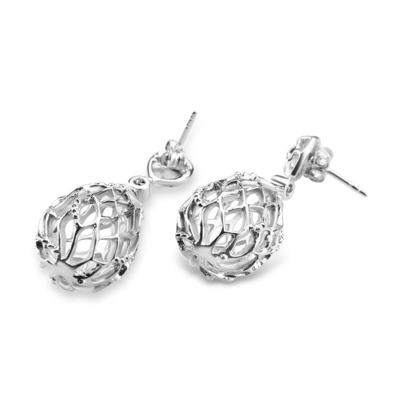 White Gold Plated Hive Earrings