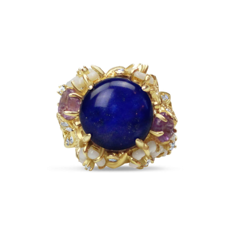 Gold Plated Lapis Cocktail Ring
