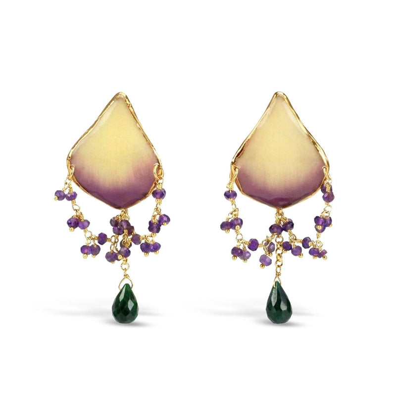 Gold Plated Natural Orchid Earrings