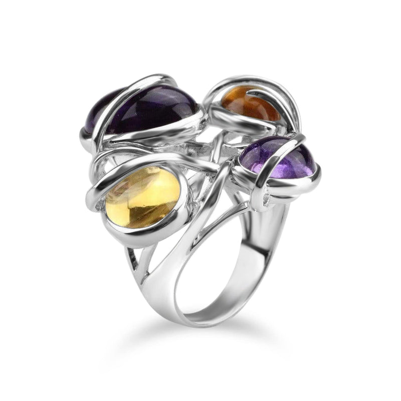 White Gold Plated Citrine and Amethyst Cocktail Ring