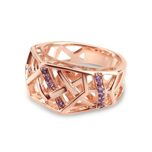 Rose Gold Plated Crossover Amethyst Ring