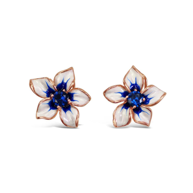 Enamel White Orchid Earrings