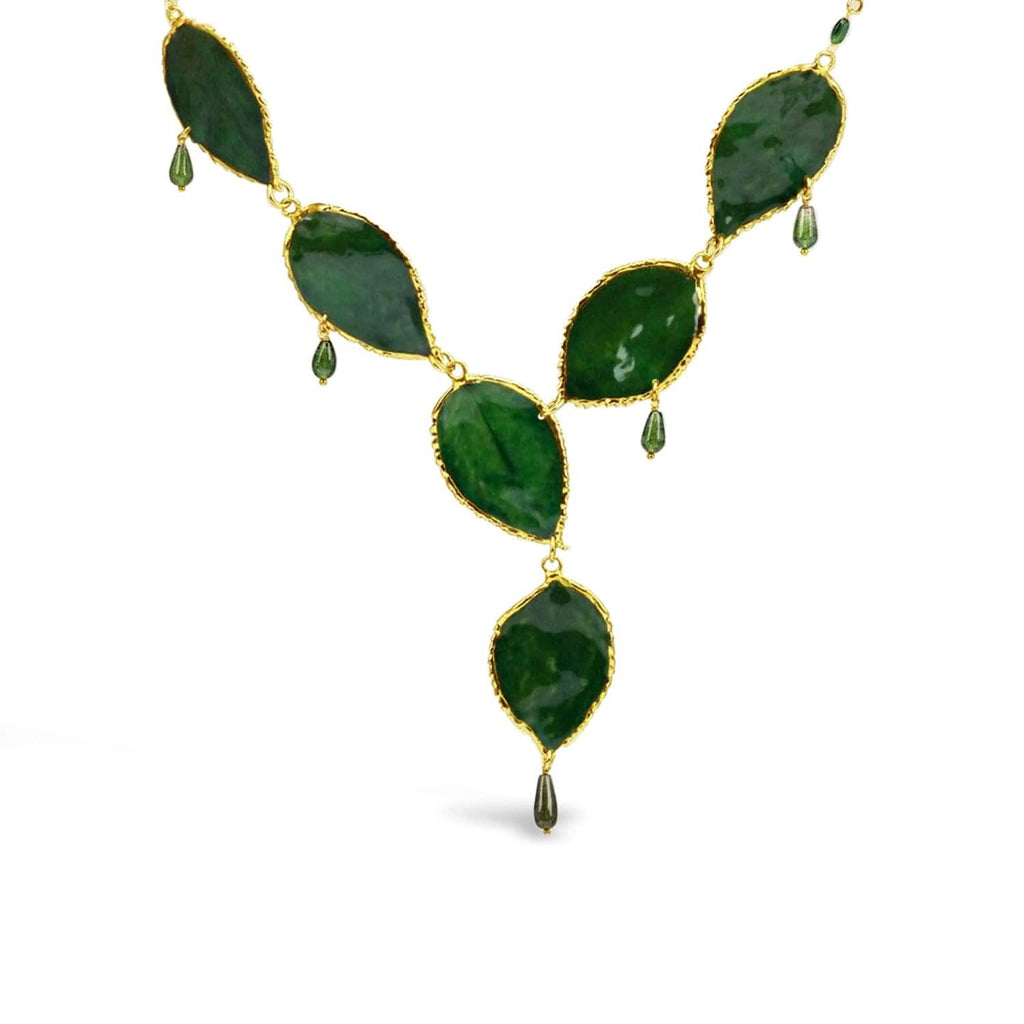 Green Rose Leaves and Tourmaline Necklace