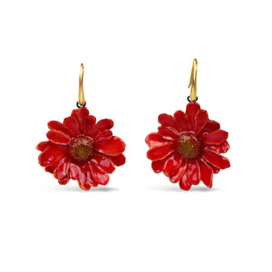 Natural Red Daisy Earrings
