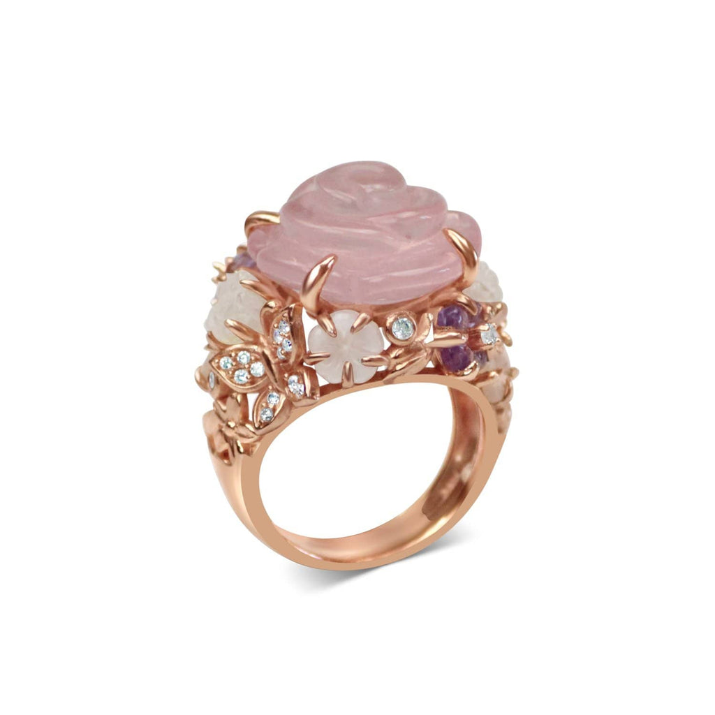 Gold Plated Quartz Cocktail Ring