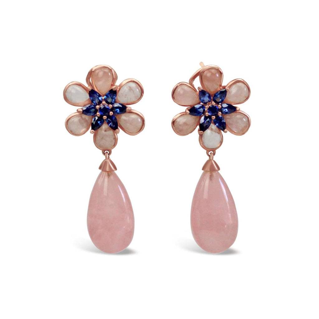 Gold Plated Quartz Flower Earrings