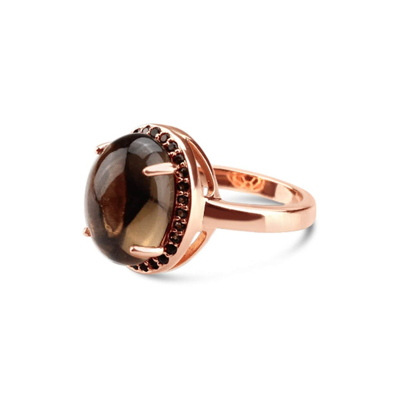 Rose Gold Plated Quartz Oval Ring