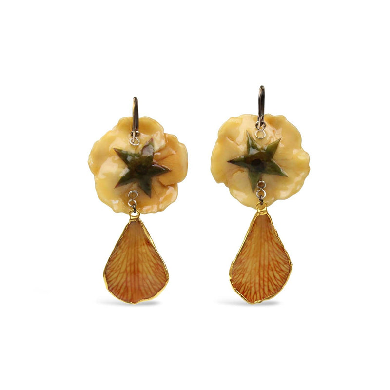 Gold Plated Beige Rose Earrings