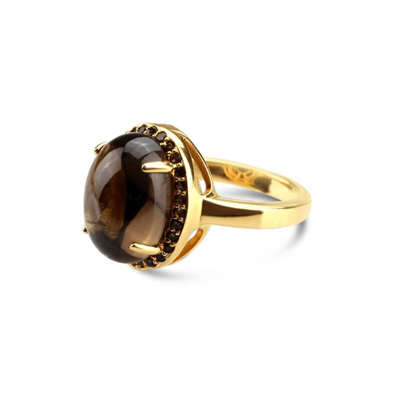 Gold Plated Quartz Oval Ring