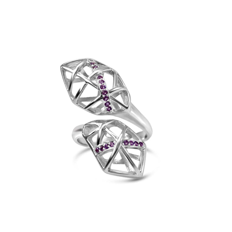 White Gold Plated Amethyst Helical Ring